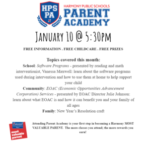 Parent Academy January 10 @5:30pm